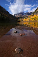 Maroon Bells, clouds, aspen, lake, reflection, Colorado, autumn