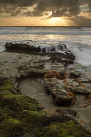 ray, sun, light, waterfall, tide, ocean, rock, sunset, low tide, Encinitas, Swamis
