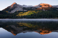 Colorado, aspen, Beckwiths, autumn, Elk Mountains, sunrise, Lost Lake, lake