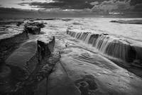 La Jolla, coast, wave, clouds, sunset, bw, beach, rock
