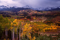 Colorado, autumn, aspen, valley, storm, Sneffels, San Juan Mountains