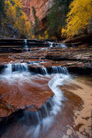 Zion, Utah, waterfall, Archangel Cascades, Subway, autumn, creek, stream