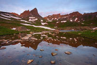 Ice Lake, Golden Horn, Pilot Knob, reflection, mountain, sunrise, Colorado