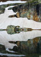 Bullion King, lake, reflection, mountain, snow, rock, wall, Colorado, Porphyry