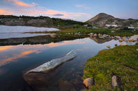sunrise, cloud, rock, water, reflection, tarn, lake, mountain, Snowy Range, Wyoming, Sugarloaf