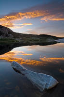 sunrise, cloud, rock, water, reflection, tarn, lake, mountain, Snowy Range, Wyoming