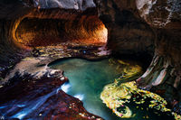 Utah, Zion National Park, subway, autumn, creek