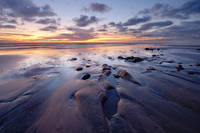 coast, sunset, beach, Carlsbad, California, ocean, clouds, reflection