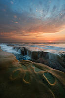 La Jolla, sunset, shore, coast, sea