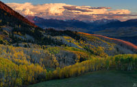 Colorado, aspen, Last Dollar Road, Telluride, autumn, forest, sunset