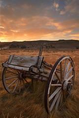 Bodie, sunrise, clouds, wagon, Eastern Sierra, California