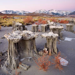 sand, tufa, Mono Lake, winter, mountain, sunrise