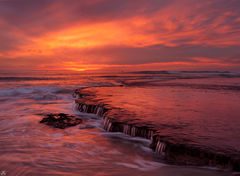 California, sunset, Encintas, beach, San Diego, low tide