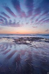 California, San Diego, sunset, La Jolla, beach, cloud, sky, reflections