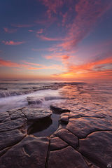 California, San Diego, sunset, coast, reflection