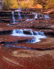 Utah, Zion National Park, Archangel Cascades, autumn, subway, waterfalls