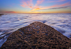 California, La Jolla, rock, sunset, tidewater