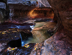 Utah, Zion, sandstone, waterfall, subway, alcove,backcountry