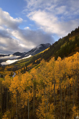 Colorado, McClure Pass, aspen, autumn, fall, mountain, clouds, sunrise