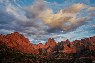 Utah, Zion, canyon, Kolob Canyon, sunset, clouds,