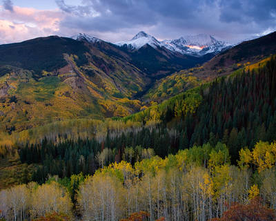 Colorado, Capitol Peak, Mount Daly, aspen, autumn, sunset