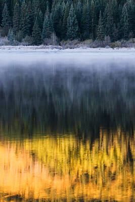 Lost Lake, Colorado, Kebler Pass, reflection, fog, aspen, Elk Mountains
