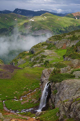 Colorado, San Juan Mountains, porphyry, falls, waterfall, gulch, summer, thunderstorm