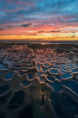 California, La Jolla, potholes, sunset, color, clouds