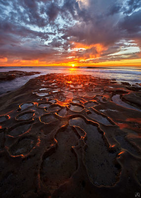 California, La Jolla, sunset, light, spray, ocean, tidepools, clouds, coast