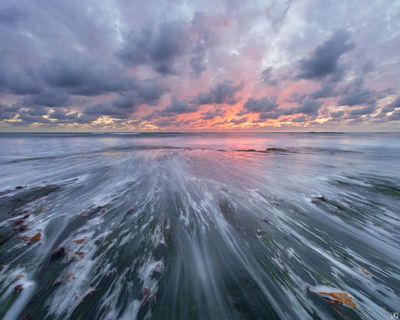 California, Encinitas, San Diego, beach, sunset, sea, tide