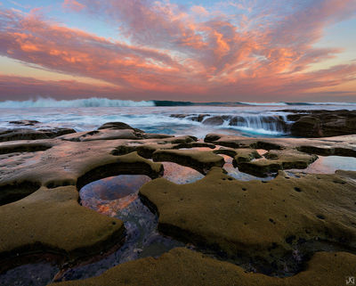 California, La Jolla, San Diego, coast, shore, surf, waves, sunrise, clouds