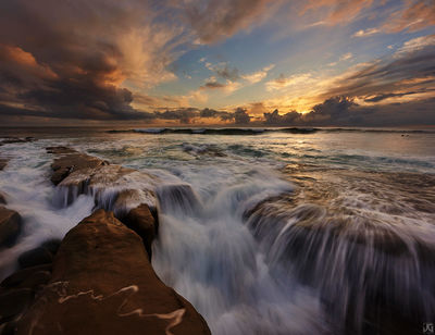 La Jolla, California, surf, surfer, monsoon, clouds, storm, sunset