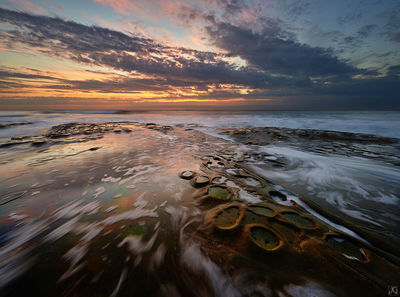 California, reflections, coast, La Jolla, sunset, potholes