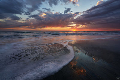 California, Encinitas, sunset, beach, clouds, sky, sand, reflections