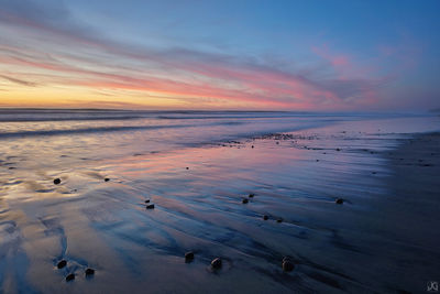 California, Del Mar, sunset, clouds, sand, rocks, reflections