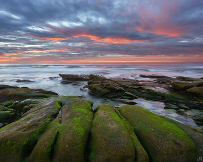 California, beach La Jolla, sunset, Windansea, tide, clouds