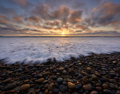 california, encinitas, coastal, beach, sunset, rocks