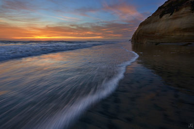 California, Solana Beach, beach, sunset, surf