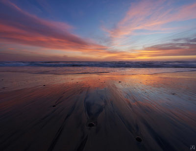 California, sand, sunset, Del Mar, coast, beac, tide