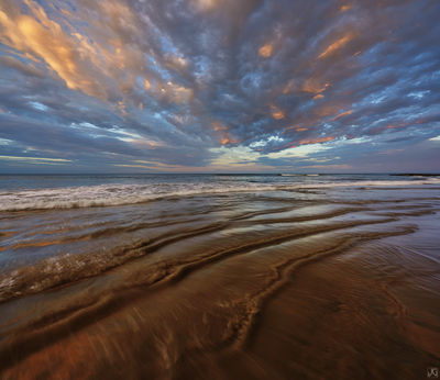 morning, sunrise, beach, clouds, encinitas, california, swamis, sky