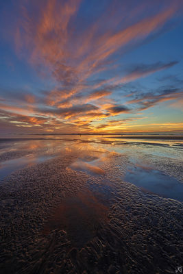 California, Del Mar, sunset, tide, beach, reflections