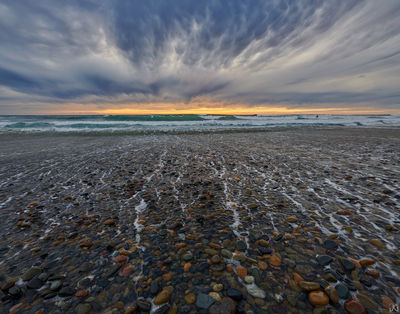 California, sunset, beach, rock, water, clouds, mammatus, storm, Encinitas