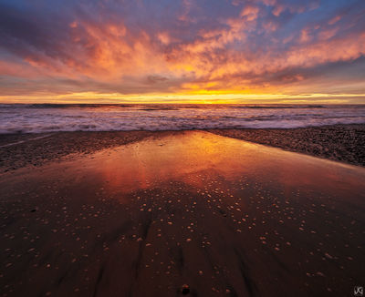 California, encinitas, clouds, sunset, coast, sand, beach, reflections