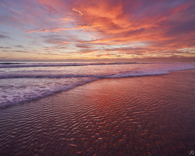 California, sunset, beach, clouds, reflections, water, summer