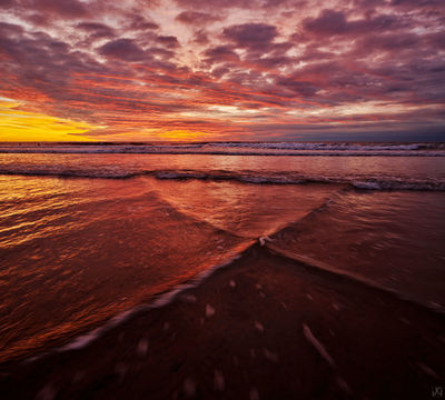 California, beach, solana beach, clouds, sunset, autumn