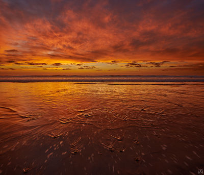 California, sunset, beach, solana beach, sand, reflections, tide