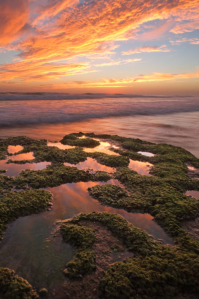 Small pools of water remain atop this rock, providing great reflections of the clouds at sunset along a scenic stretch of coast...