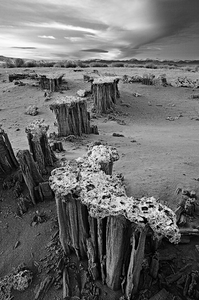 sand, tufa, Mono Lake, Eastern Sierra, California, cloud, photo
