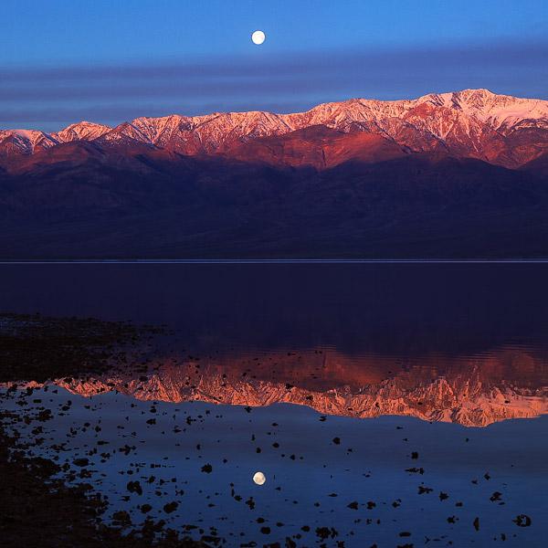 Badwater, lake, mountain, Telegraph, Panamint, sunrise, moonset, Death Valley, photo