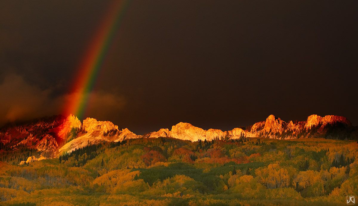 Colorado, rainbow, aspen, Kebler Pass, Ruby Range, Dyke, autumn, photo